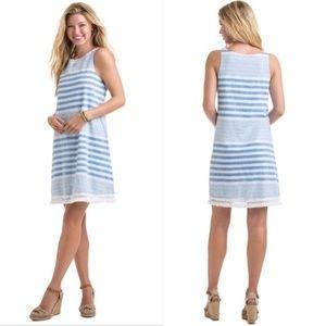 Vineyard Vines Linen Blend Blue Stripe Dress 0
